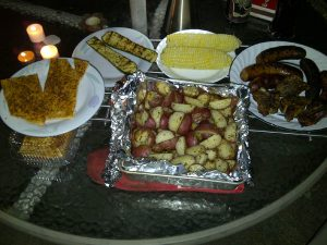 Potatoes, corn, zucchini, sausage & lamb from the Elora Farmers Market.