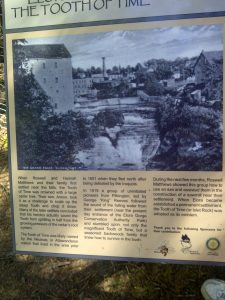 This sign, describing the Elora Mill and Tooth of Time, is one of many historical information signs in Elora.