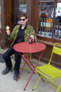 Enjoying ice cream and a cold drink on a sunny afternoon in Elora