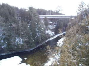 Winter View Elora Gorge Downstream From Lovers Leap